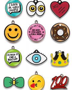 18 Fun Dog ID Tags for Stylish Doggos - heydjangles.com - emoji pet ID tags, cute dog ID tags, funny pet ID tags.