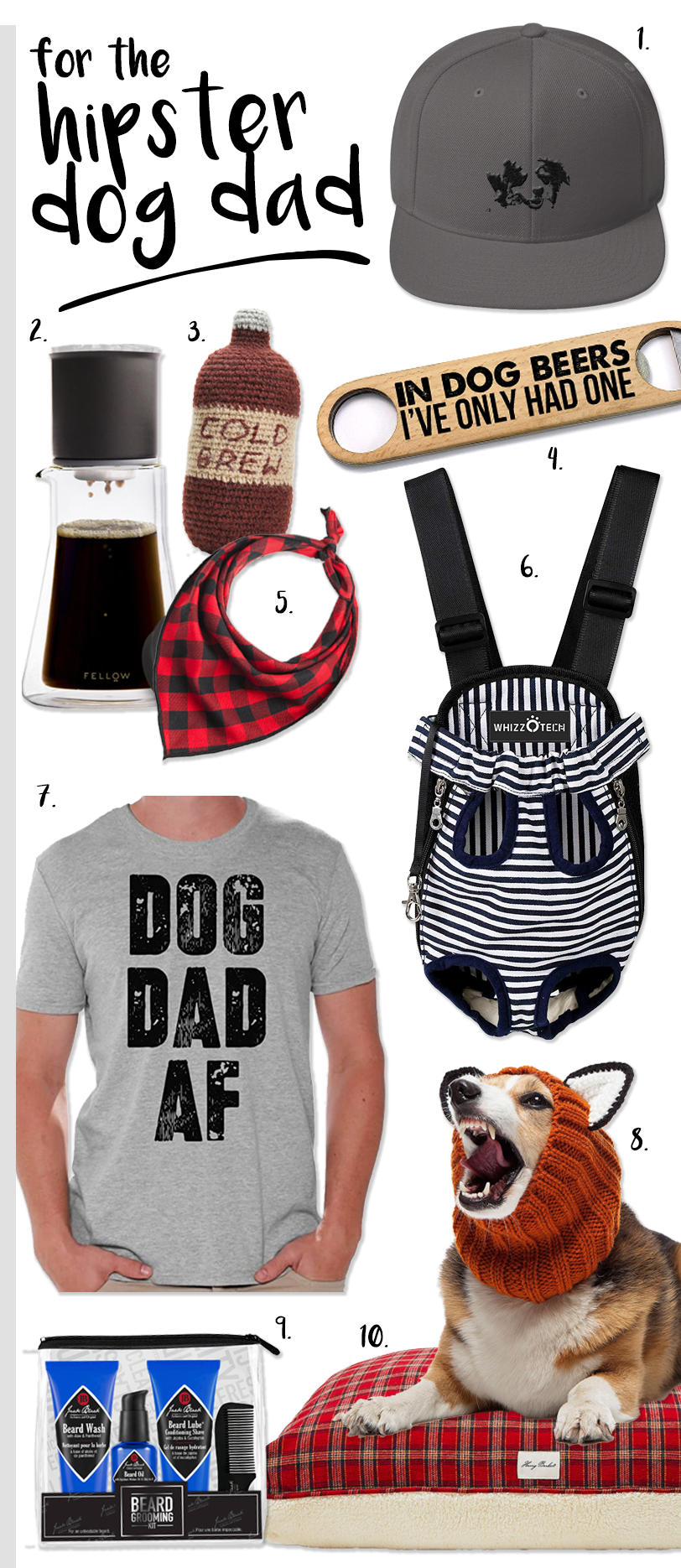 Gift ideas for the hipster dog dad. #dogdadgifts