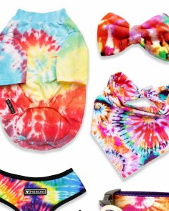 Tie Dye Dog Shirts and Accessories for Groovy Pups - heydjangles.com - tie dye dog leash, hippie dog collar, tie dye dog bandana, rainbow dog harness, rainbow tie dye. #dogfashion #flowerpower