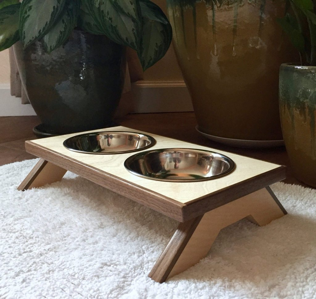 Mid-Century Modern Raised Pet Bowls