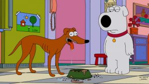 100 Popular TV Show Dog Names - Pictured: Family Guy / The Simpsons Crossover: Brian Meets Santa's Little Helper – FOX