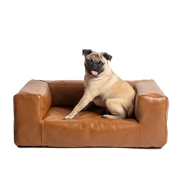 Blvd Dog Bed in Savnnah Saddle (Vegan) Leather - via West Elm
