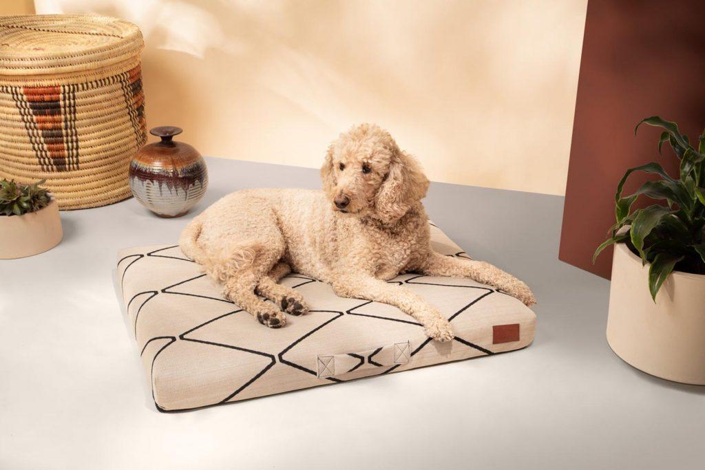 Mudcloth Boho Dog Bed, Poodle.