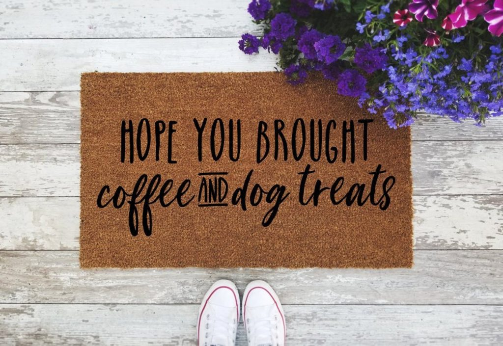 Hope You Brought Coffee and Dog Treats Door Mat from aDoorable Mat Co. via Etsy