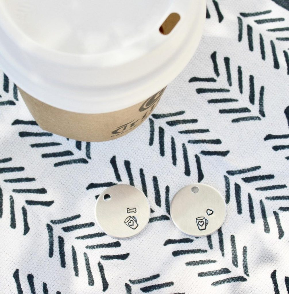 Coffee Dog ID Tag Pet Tag from Woof Sniff Wag and Co. via Etsy.