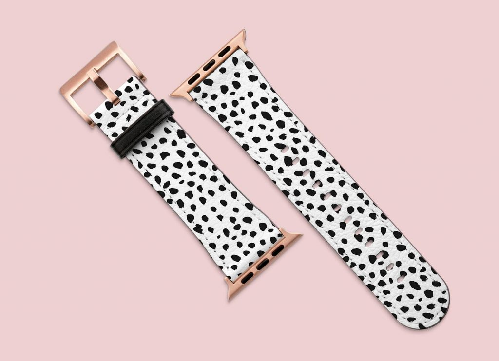 Dalmatian Apple Watch Strap via NewJoyStudio on Etsy.