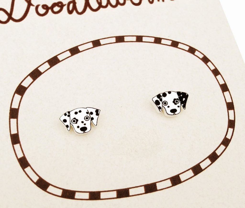 25+ Gorgeous Dalmatian Gifts for Her - Dalmatian Stud Earrings via Doodleworm on Etsy.