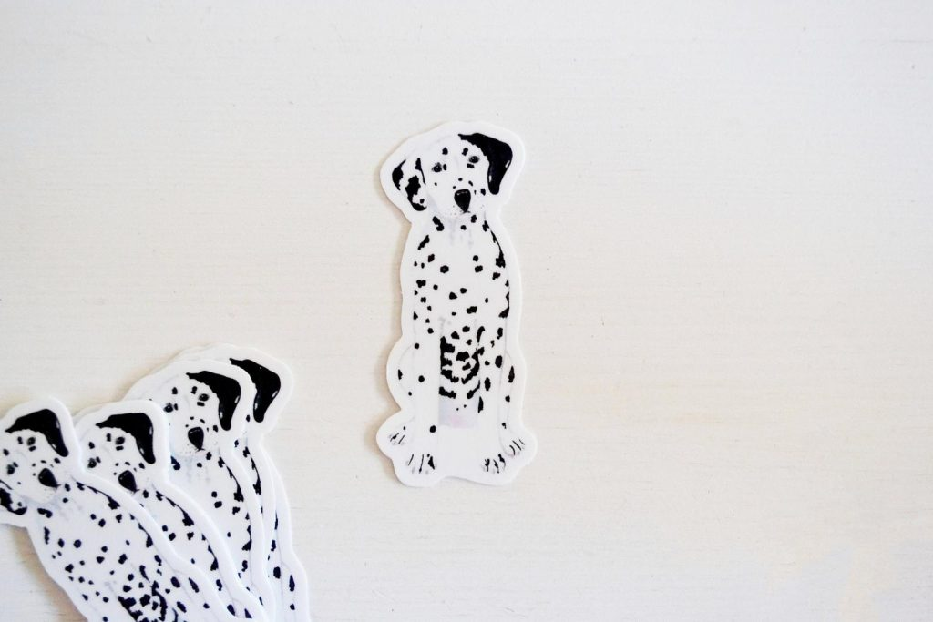 Dalmatian Stickers via LauraKingPaints on Etsy.