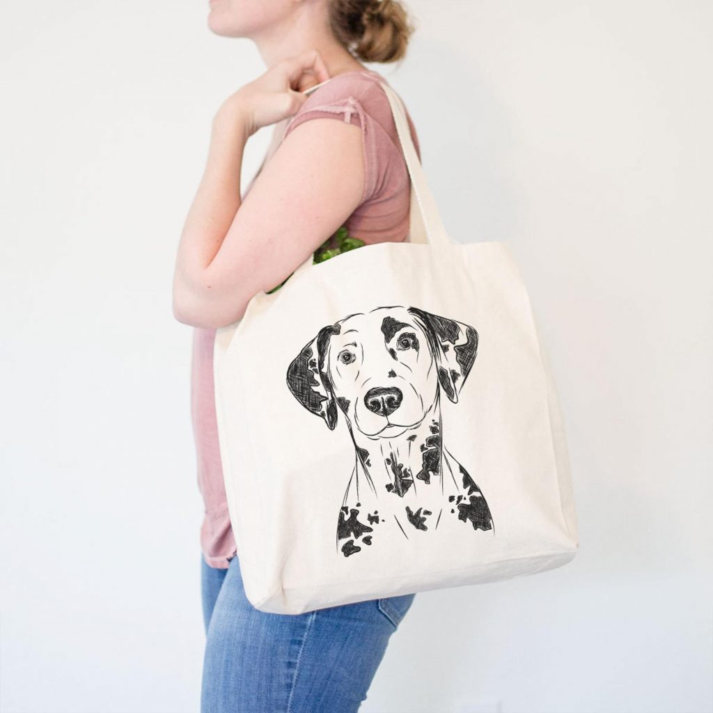 Dalmatian Canvas Tote Bag via Inkopious on Etsy.