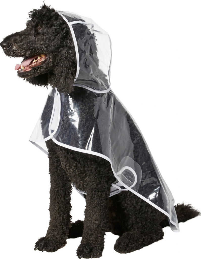 Image via Chewy feat. Frisco Clear Vinyl Dog Raincoat Up to 3XL, 26 inch back length.