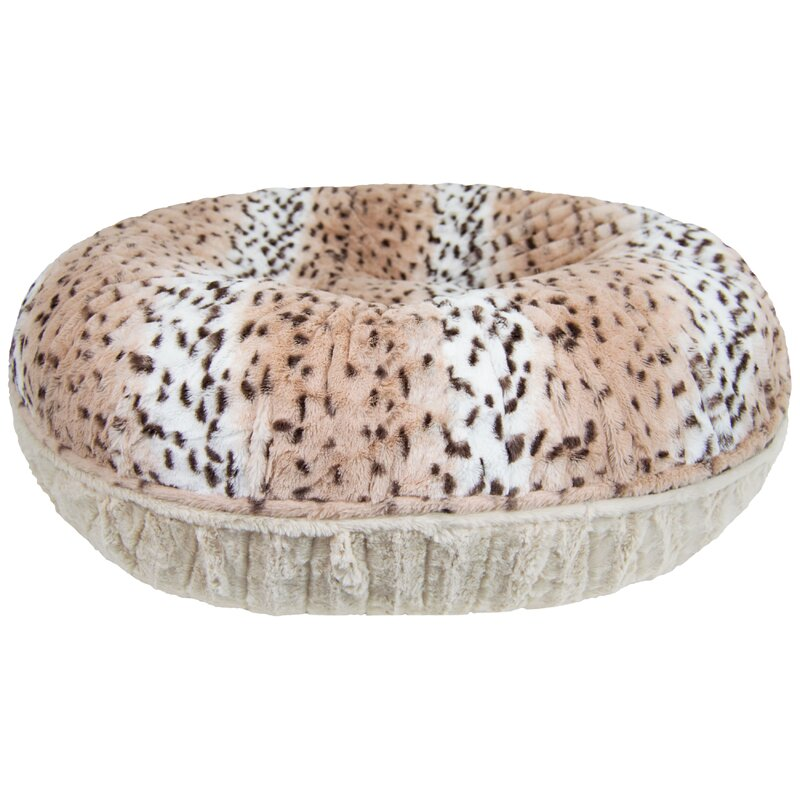 Round Faux Fur Snow Leopard Dog Bed from Wayfair.
