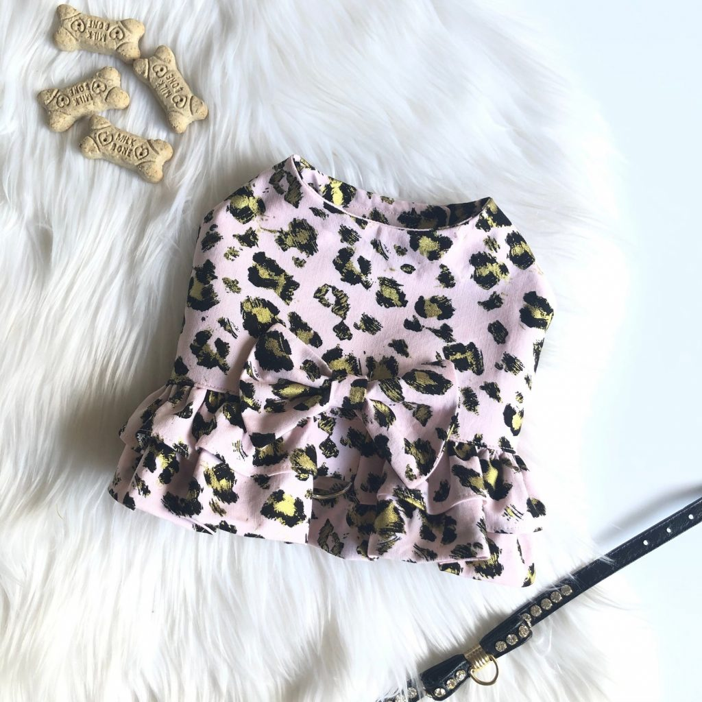 Pink Leopard Print Dog Harness Dress from Coco and Bushka Couture (via Etsy).