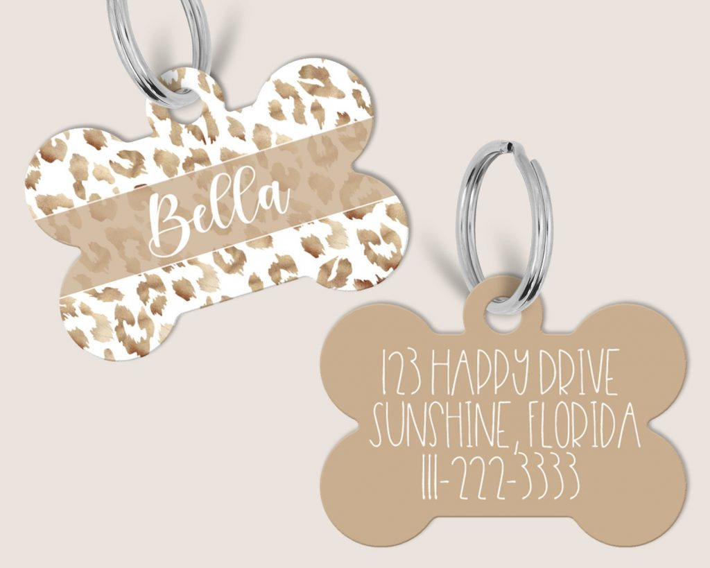 Leopard Print Dog Tags from Fox and Clover Boutique (via Etsy).