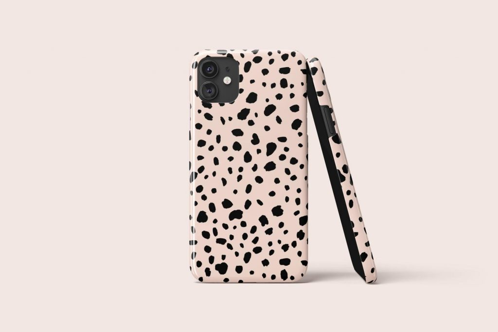 Blush Dalmatian Spot Phone Case via acasodesign on Etsy.