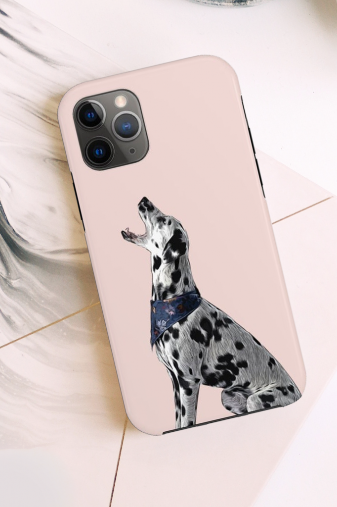 Pink Dalmatian Phone Case for iPhone via FuzzyGiftCo on Etsy.