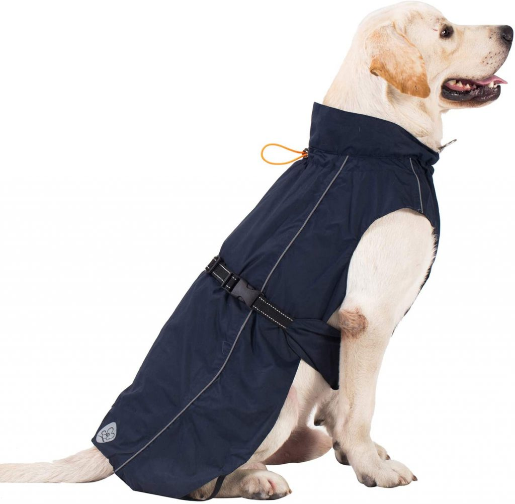 Image via ProPlums (Amazon) feat. ProPlums Lightweight Dog Raincoat Up to 2XL, 27.5 inch back length.
