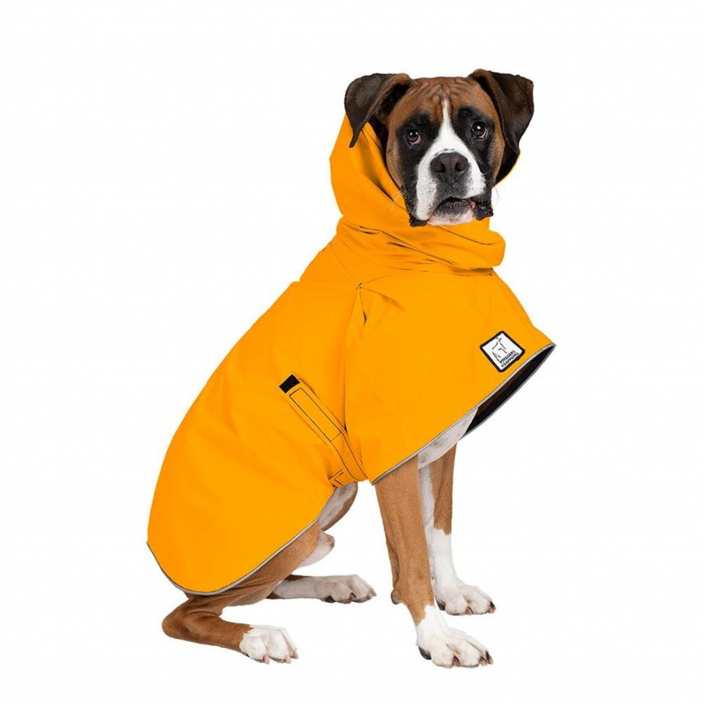 Voyagers K9 Apparel Boxer Waterproof Dog Jacket Raincoat via Etsy.