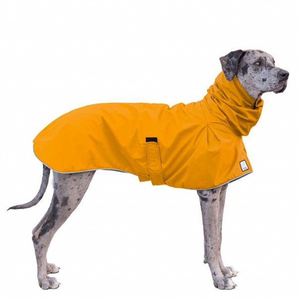 Voyagers K9 Apparel Great Dane Waterproof Dog Jacket Raincoat via Etsy. XL raincoats for large dogs.