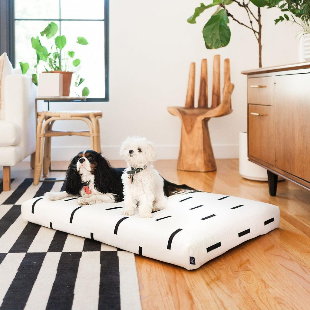 White Modern Mud Cloth Dog Bed from Laylo Pets - Image via Etsy.