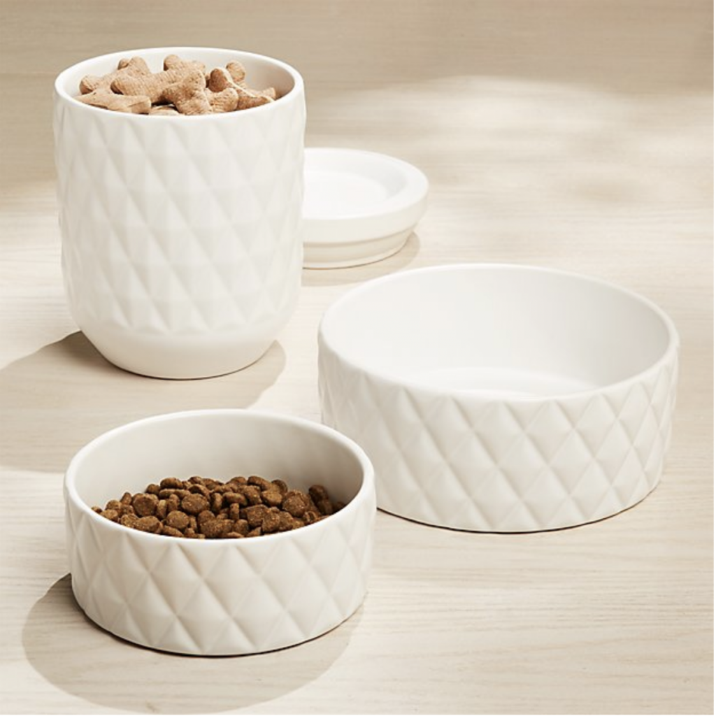 Harlequin Dog Bowls available from Crate and Barrel.