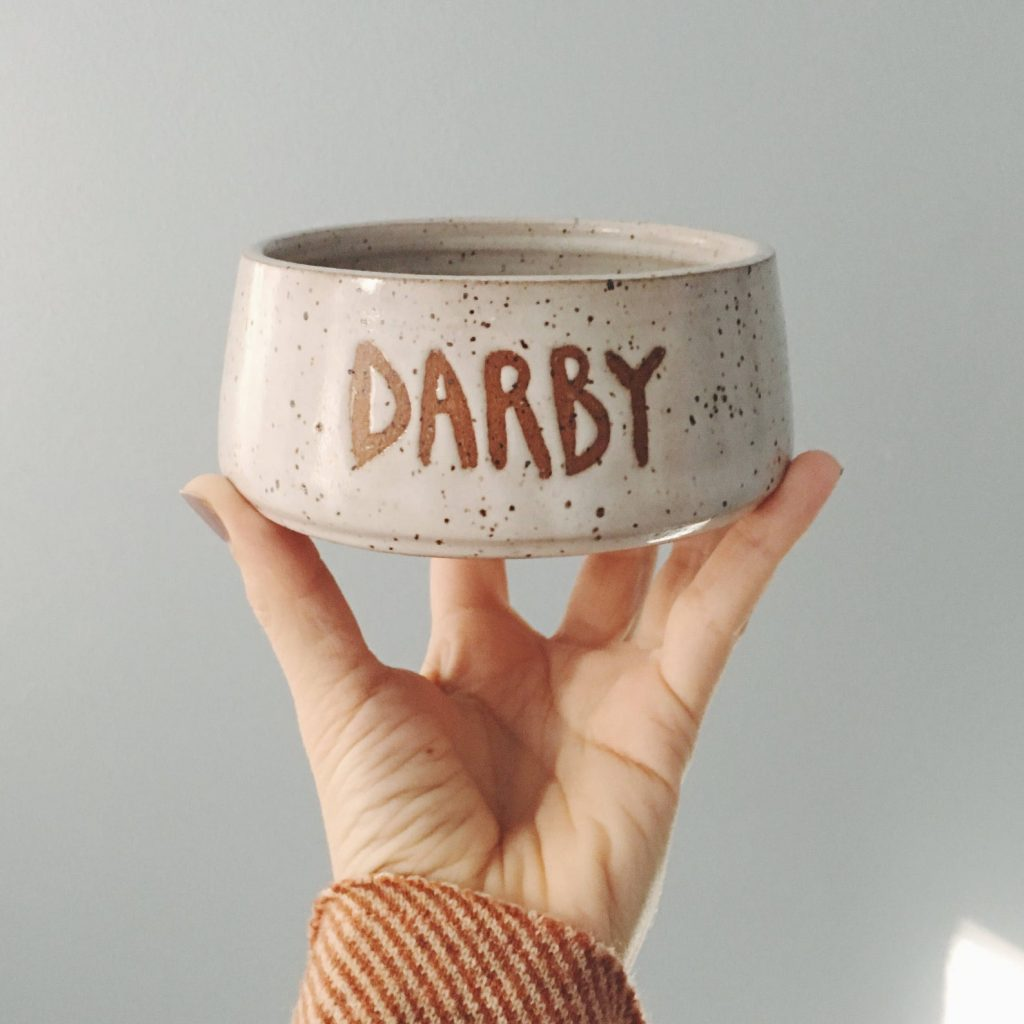 Custom Stoneware Dog Bowl from The Lulu Bird via Etsy