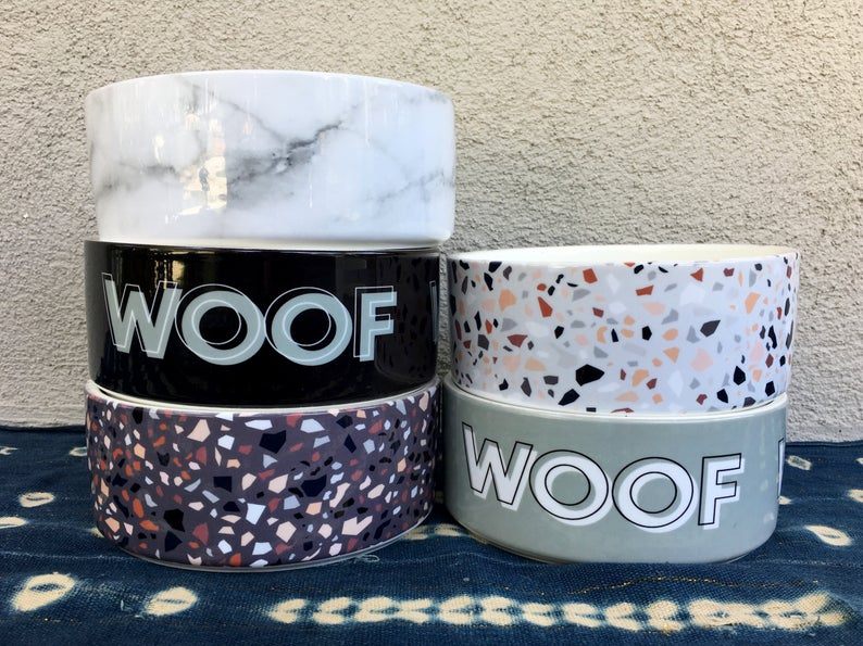 Terrazzo Print Ceramic Dog Bowls from ShouldWeGo via Etsy.
