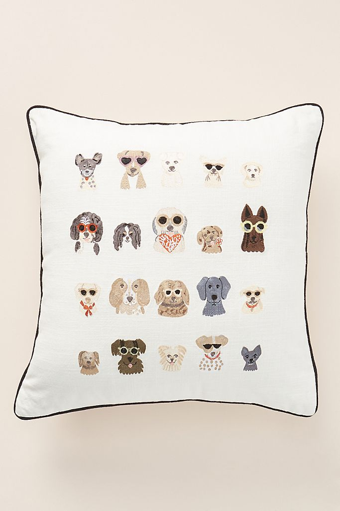 Dog Illustration Embroidered Pillow from Anthropologie.