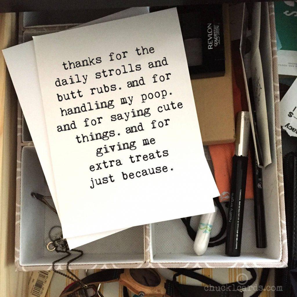 Funny Dog Walker Thank You Card via Etsy.