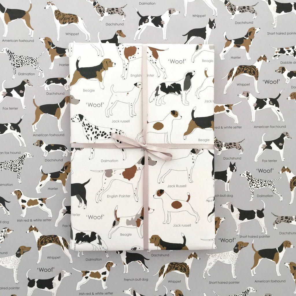 Dog Illustrations Gift Wrap via Etsy.