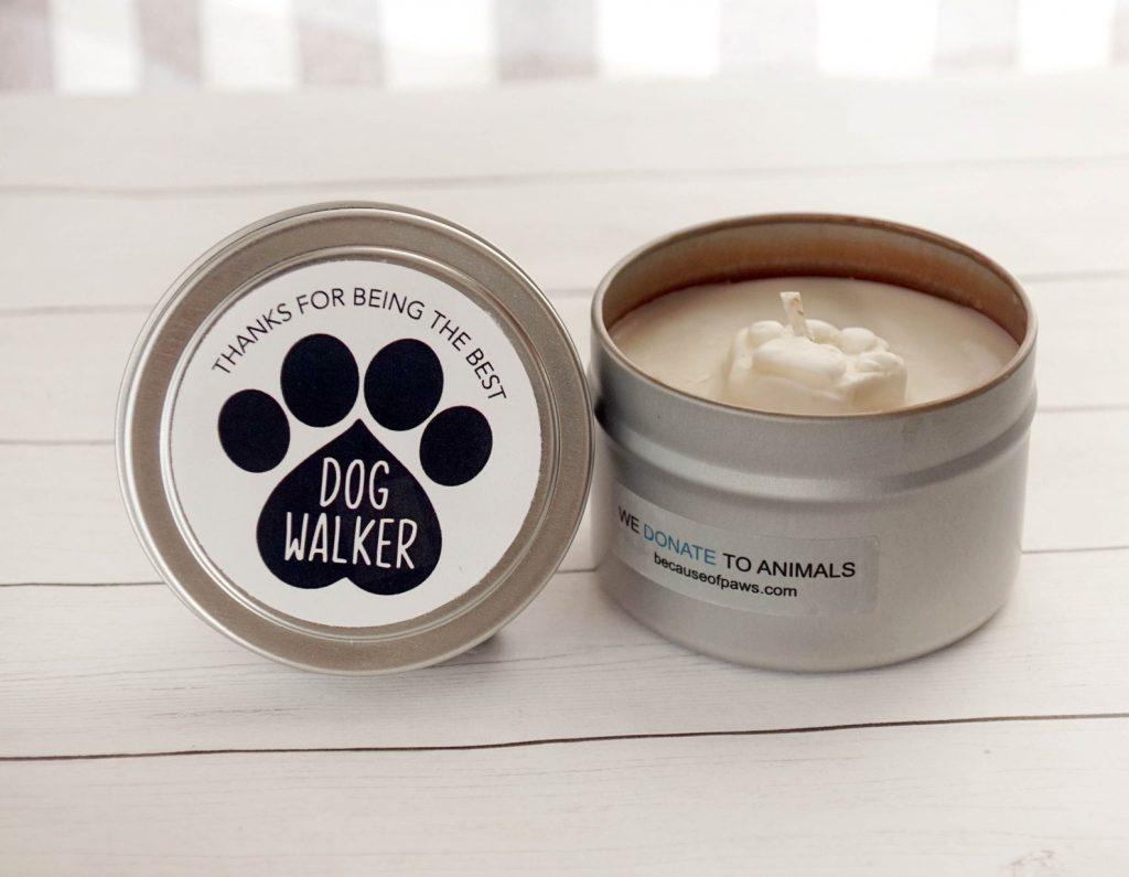 Dog Walker Gift Candle via Etsy.