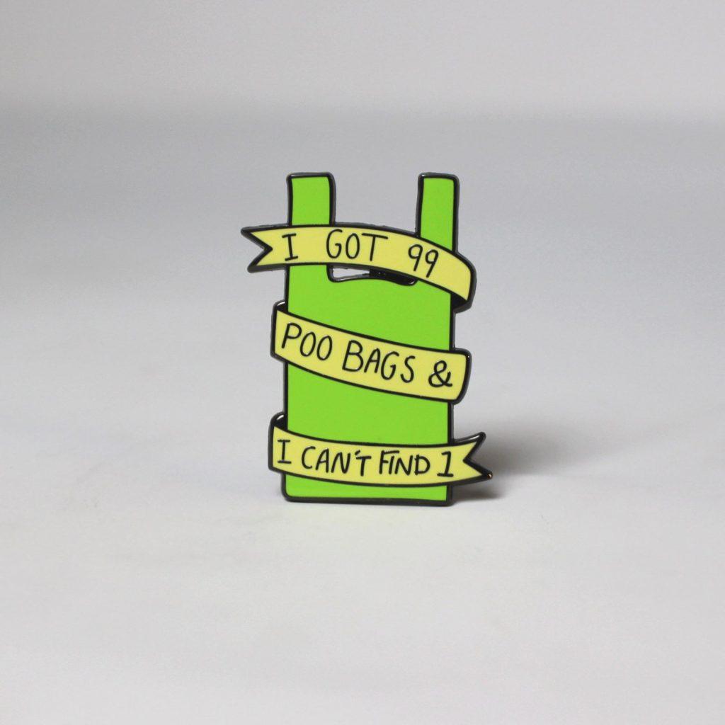 Funny Poo Bag Enamel Pin via Etsy - Gifts for the Dog Walker.