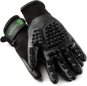 Best pet hair removal tools for grooming - HandsOn grooming gloves via Amazon.