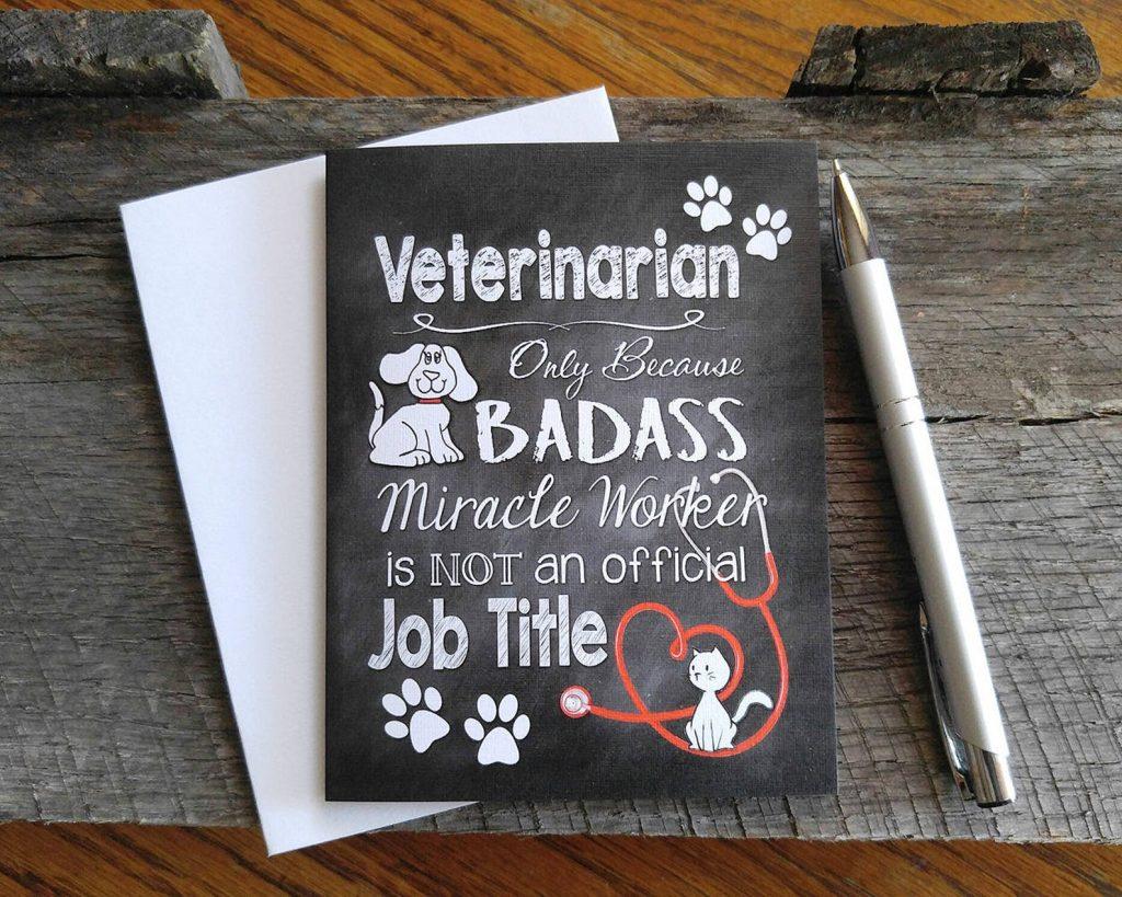 Vet card, gift via Etsy.