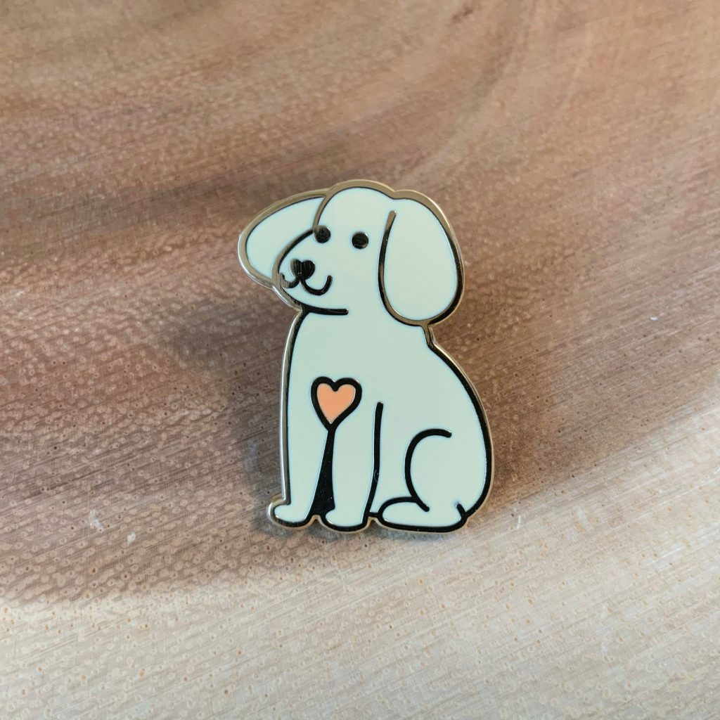 Cute puppy dog enamel pin brooch via Etsy. Dog lover gifts.