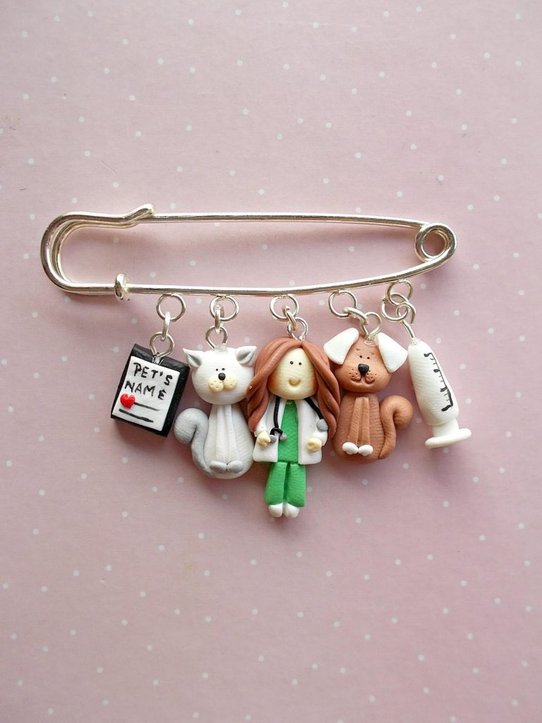 Cute Vet broock pin, gift via Etsy. Veterinarian Gift Ideas.