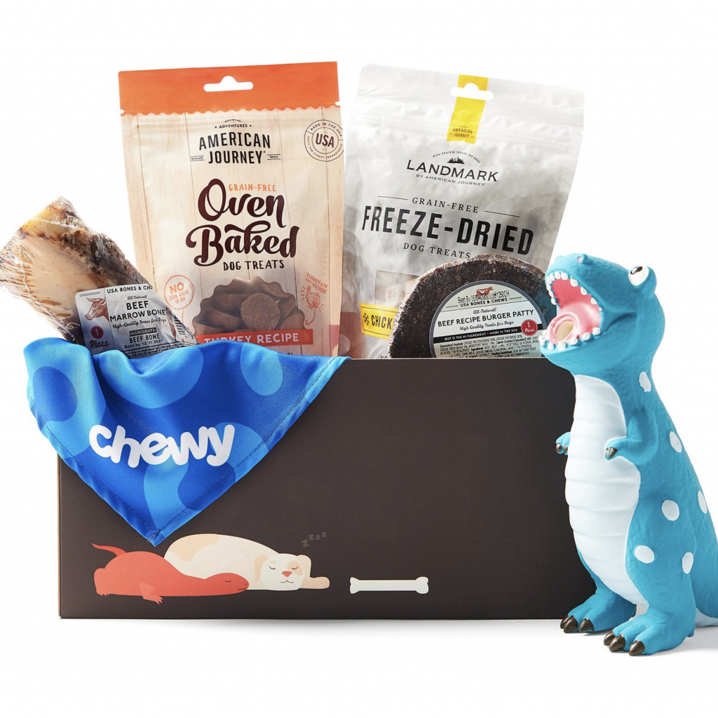Chewy Goody Box for Large Dogs via Chewy, doggy gift baskets.