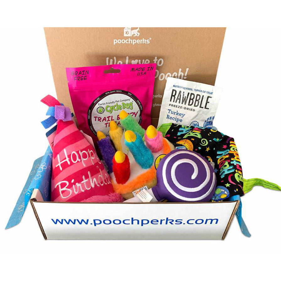Pooch Perks Dog Birthday Box.
