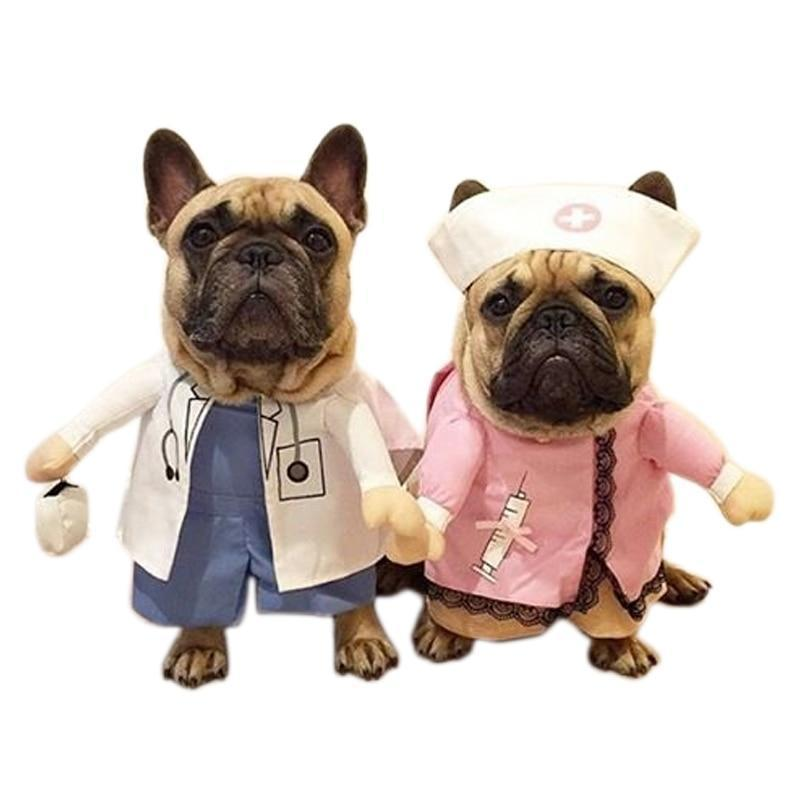 Dog doctor and nurse Halloween costumes via Frenchiely.