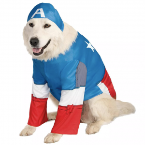 Captain America Big Dog Pet Costume via Pure Costumes from Target, Halloween Costumes for Extra Large Dogs.