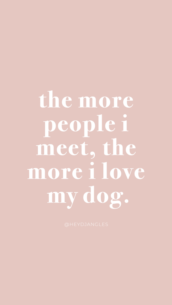 The more people I meet, the more I love my dog - funny dog quote, true story, facts of life, dog lover.