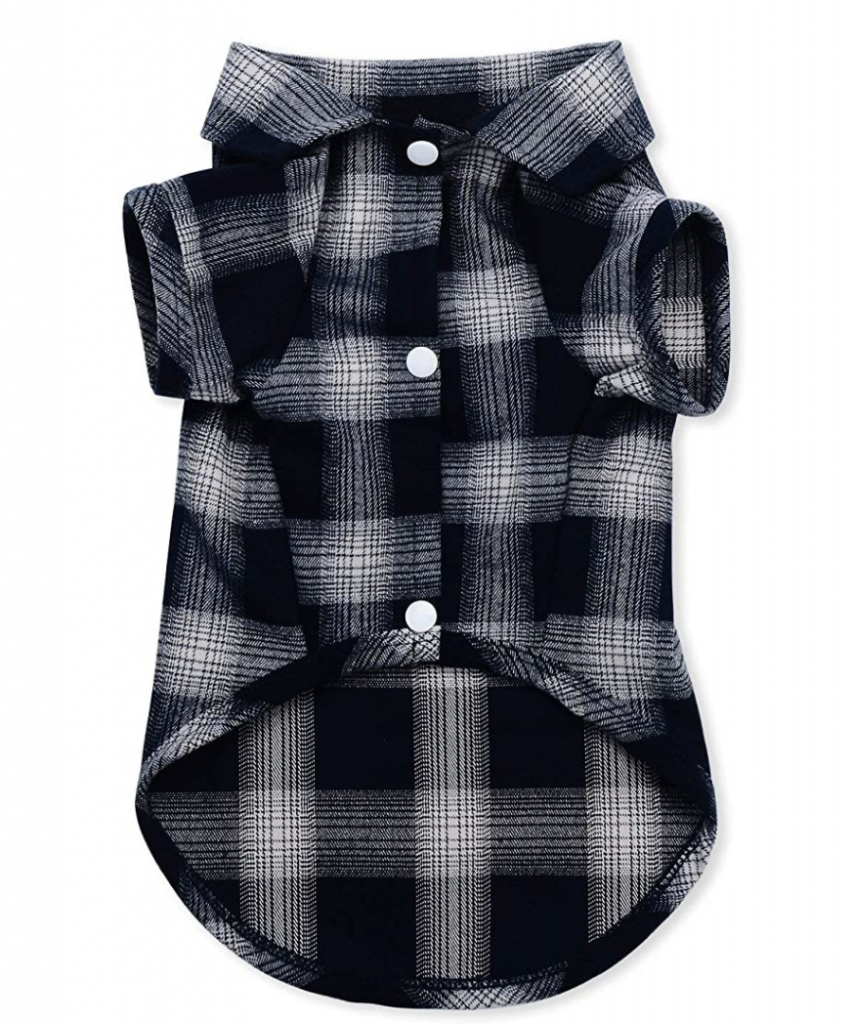 Blue Plaid Dog Shirt Avail. up to size 7XL via Amazon