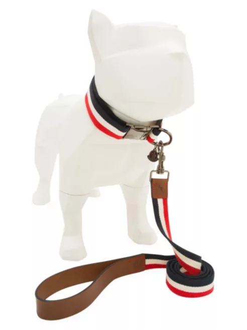 High-End Dog Collars and Leashes feat. Moncler Leather Trim Dog Leash Set via Saks Fifth Avenue