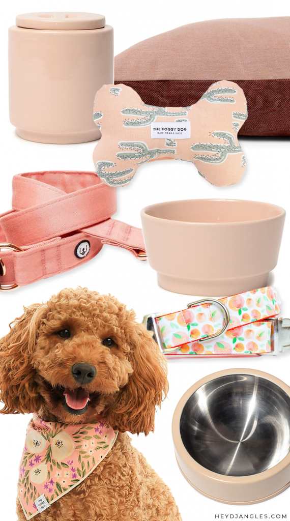 ROUND-UP: Peach Dog Accessories - Hey, Djangles. Peachy pink, peach-toned, peach-themed dog collars, leashes, beds and accessories #peach #dogaccessories