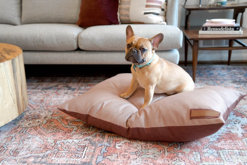 ROUND-UP: Peach Dog Accessories feat. Pink Rose Pillow Bed from The Houndry (Etsy)