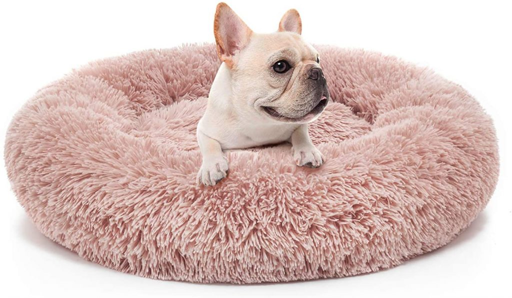 Donut Cuddler Dog Bed in Pink via Amazon
