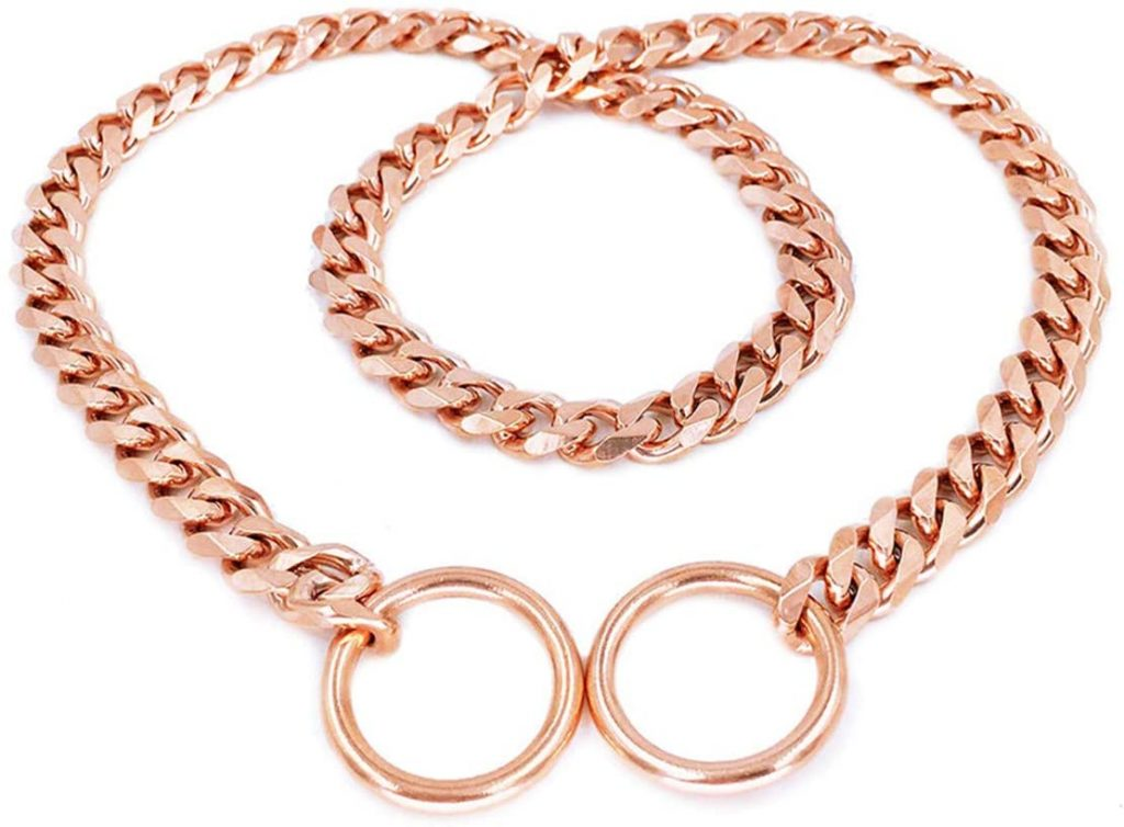 Rose Gold Chain Dog Collar via Amazon