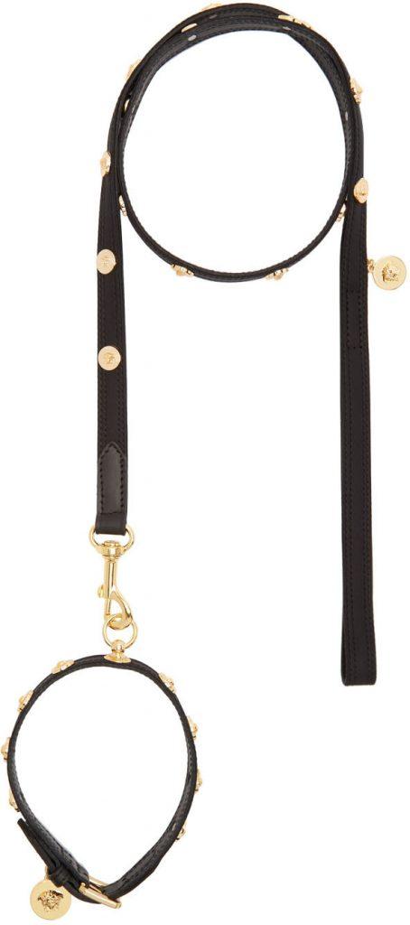 High-End Dog Collars and Leashes feat. Versace 'Medusa' Studded Collar & Leash Set via Ssense