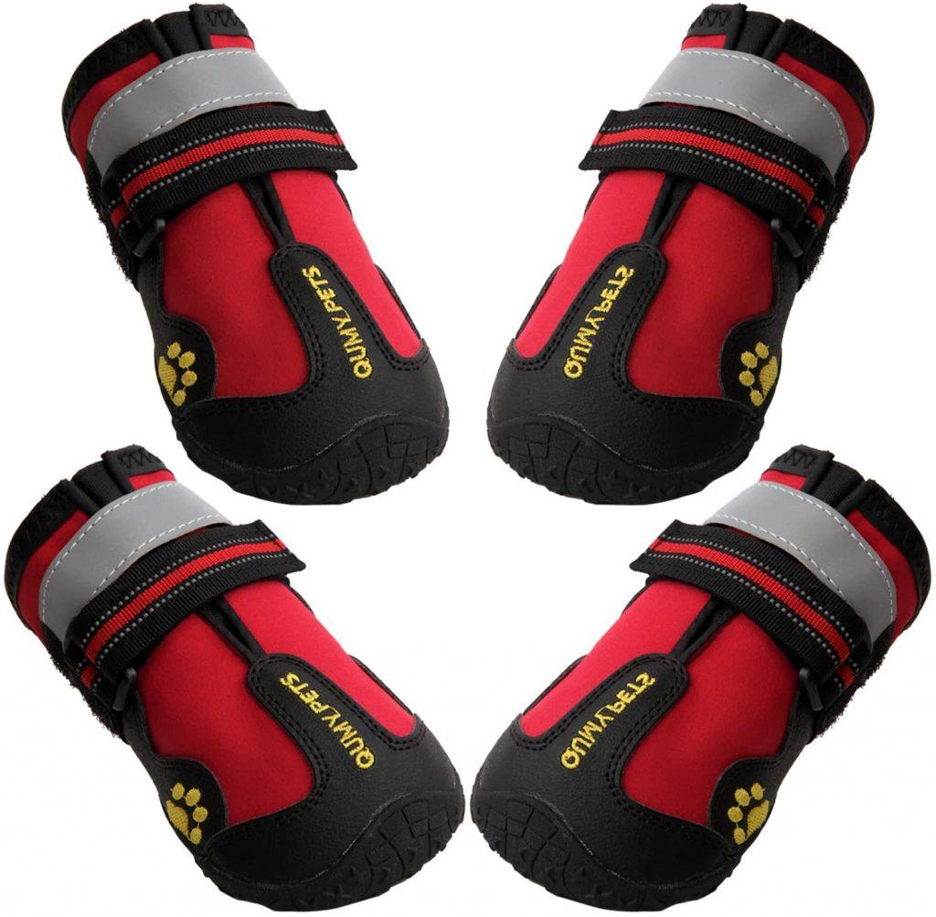 QUMY Waterproof Dog Boots via Amazon, non slip dog booties for indoors