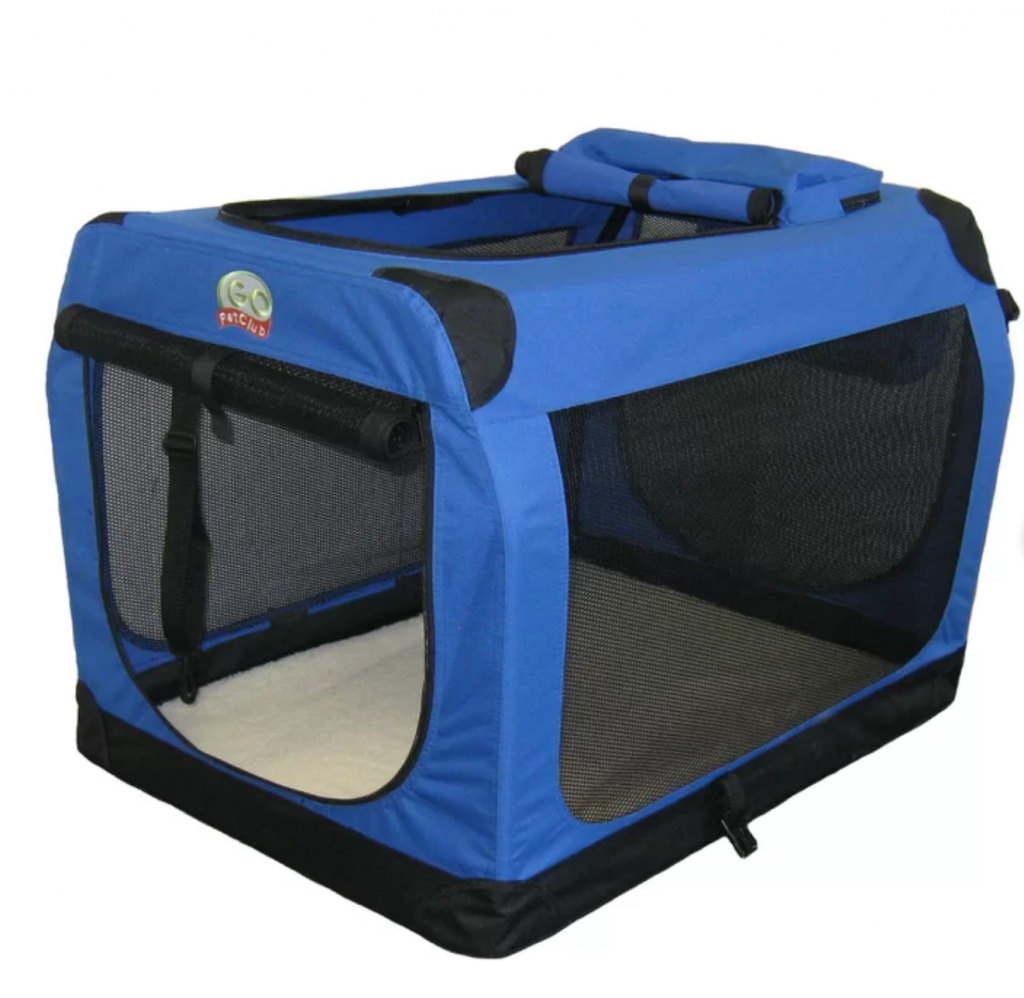 Blue Travel Pet Crate - Go Pet Club, via Wayfair