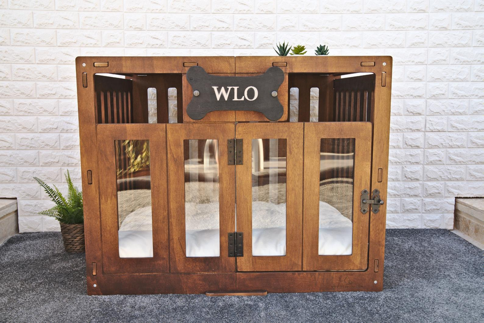 13 Practical Dog Crates for Big Dogs (up to XXXL) - Image via WLO Wood (Etsy) feat. Modern Dog House Crate (XXL – 51.2 inch)
